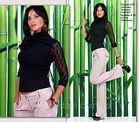 Элегантная трикотажная блуза с гипюровыми рукавами, фото 1