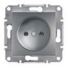 Розетка без заземления, сталь - Schneider Electric Asfora
