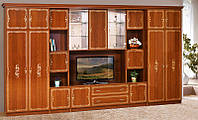 Стенка для гостиной классика Версаль 9, стенка с двумя бельевыми шкафами и местом для ТВ, 4166*2260*610