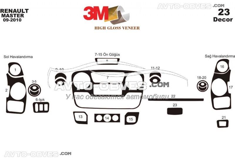 Декор на торпеду Opel Movano 2012 - ..., из 23 элем (наклейки)