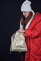 Дизайнерский золотистый  рюкзак из эко-кожи, фото 1