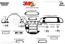 Декор на торпеду Мерседес Спринтер 1996-2006 CDI из 24 элем (наклейки)