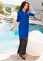 Батальное платье с кружевом по низу, цвет электрик.  Арт-9253/57