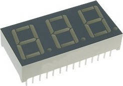 """Индикатор семисегментный красный LDS-5361BX (общий анод, 3 символа, высота символа 0,56"""")"""
