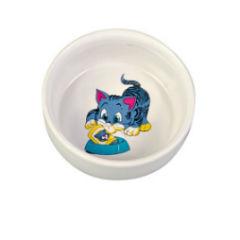 Trixiе (Трикси) Миска для кошек керамическая с рисунком, 0.3л/11см