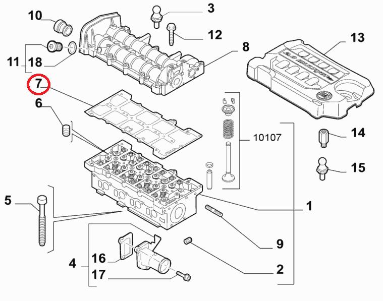 Прокладка клапанной крышки 1.6MJTD-2.0MJTD Doblo 2009-, Арт. 55248941, 55248941, FIAT