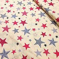 Хлопковая ткань с красно-серыми звездами с рисунком, на бежевом фоне №354