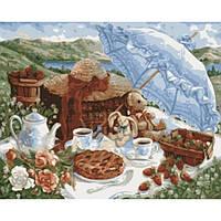 Картина по номерам на холсте Сельский пейзаж Утренний пикник 40*50см, КН2201