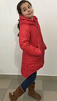 """Зимняя куртка """"Ассиметрия"""" р. 116-140, цв. коралл 647, фото 1"""