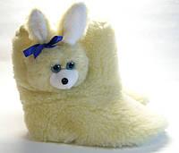 Меховые сапожки для дома с  зайчиком-игрушкой женские, фото 1