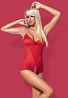 Женственный полупрозрачный боди Obsessive DIAMOND TEDDY RED, фото 1