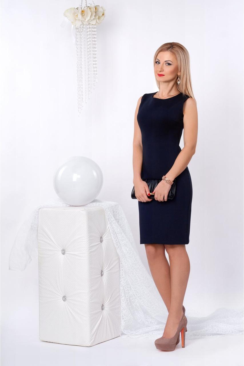 668fb8dfe47 Классическое платье-футляр темно-синего цвета из итальянской ткани ...