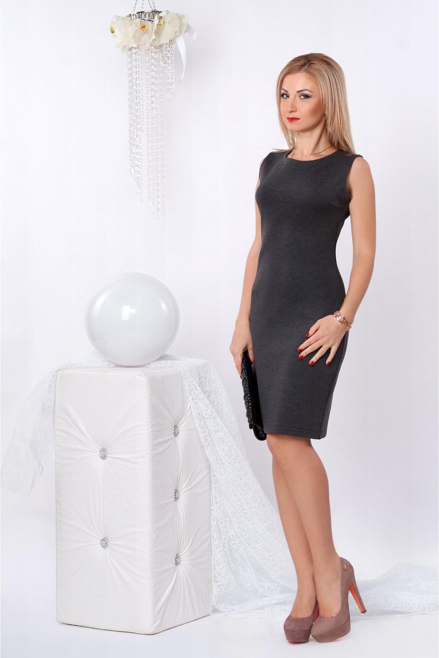 d9809babcaa Строгое офисное платье без рукавов в сером цвете - Оптово-розничный магазин  одежды