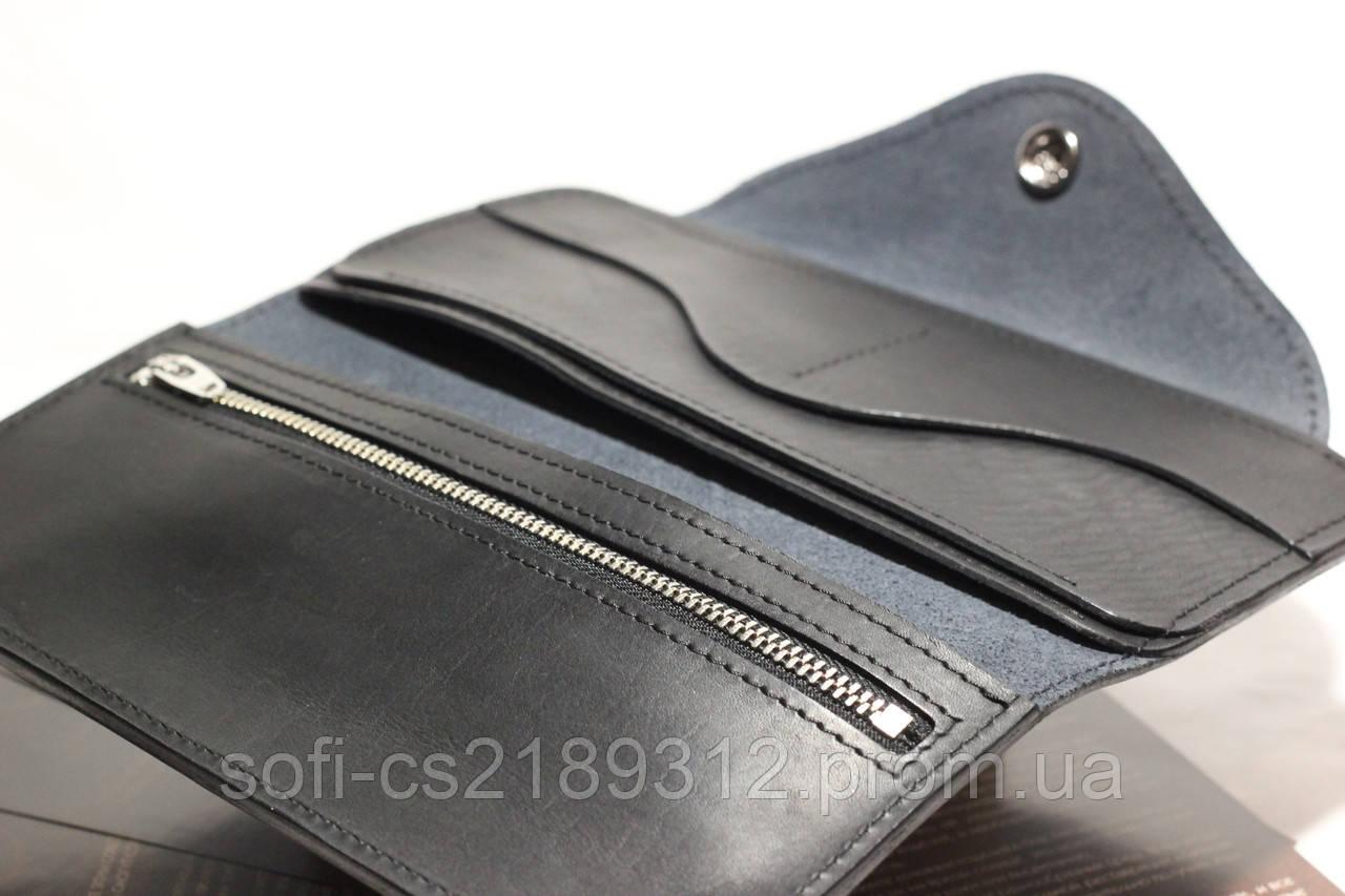 e59c47b8df23 Черный кожаный кошелек, цена 900 грн., купить в Запорожье — Prom.ua  (ID#432321190)