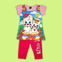 Яркий повседневный костюмчик для стильной малышки 3-6лет