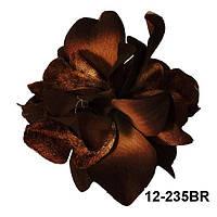 Брошь,заколка Бархатная орхидея (резинка на волосы) из ткани