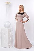 Очень красивое платье в пол бежевого цвета из структурного трикотажа