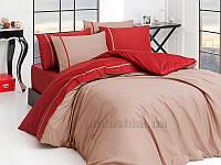 Постельное белье First choice сатин двухцветный Vizon bordo Двуспальный евро комплект