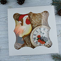 """Подарочный набор к Новому Году имбирно-медовых пряников """"Петух+часы"""" (пряник новогодний на подарок)"""