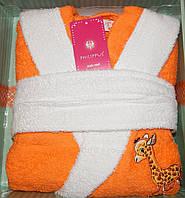 Детский халат для девочки Philippus оранжевый с жирафиком 5-6 лет.