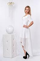 Роскошное праздничное платье в белом цвете ассиметричное сзади
