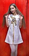 Платье нарядное для девочки белое с тиснением Ласточка