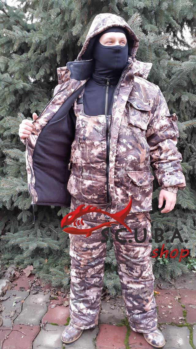 """Зимний камуфляжный костюм VERUS """"Клен Цифра"""" для рыбалки и охоты утепленный на флисе (Мембрана)"""