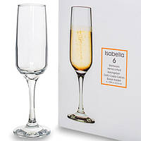 Набор бокалов для шампанского Pasabahce Isabella 6 штук 200мл d5 см h19,3 см стекло (440270)