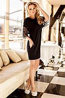Стильное женское  черное платье-туника Кобби Jadone  42-50 размеры