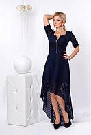 Шикарное вечернее платье темно-синего цвета из гипюра с дайвингом