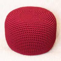 Пуф Малиновый из декоративного шнура
