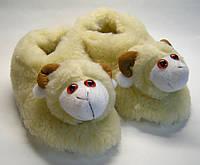 """Теплые комнатные тапочки """" Козочка"""" из овечьей шерсти"""