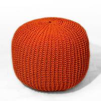 Пуф Оранжевый из декоративного шнура