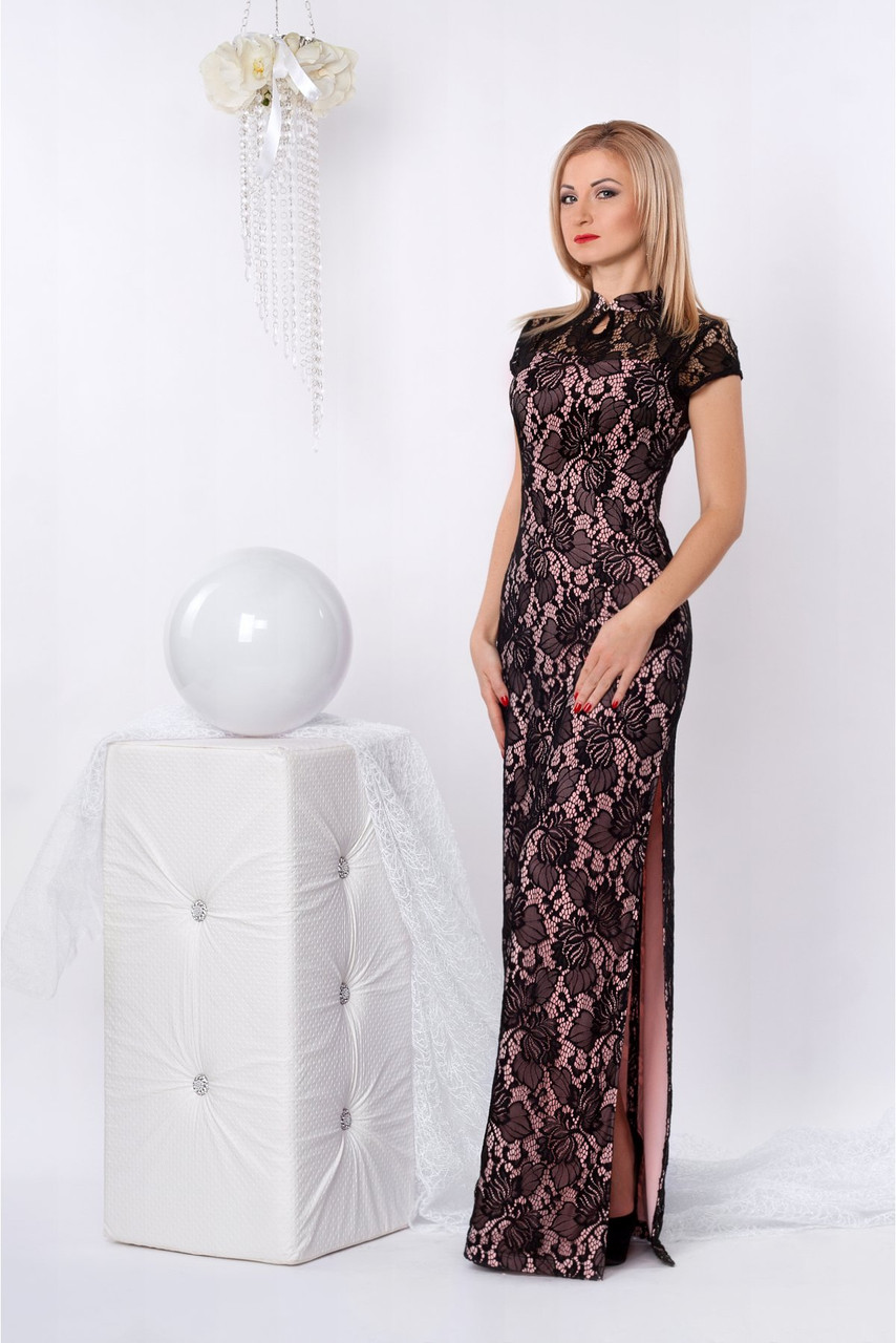 6109246f691 Очень привлекательное вечернее платье облегающее по фигуре в пол из гипюра  - Оптово-розничный магазин