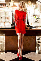 Стильное женское  красное платье-туника Кобби Jadone  42-50 размеры