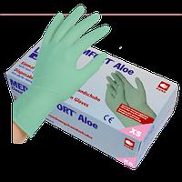 Перчатки латексные зеленые без пудры Med Comfort ALOE 6.2г, 100 шт/уп.