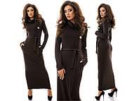 Стильное женское платье макси с карманами
