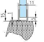 8P0832 Профиль нерж. полированная 15*11мм для стекла 8мм. L-2200