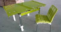 Стол обеденный стеклянный ТВ018  раскладной 110/170*75*75 см (коричневый)