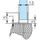 8P1032 Профиль нерж. полированная 15*13мм для стекла 10мм. L-2200