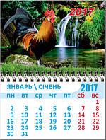 Календарь на магните на 2017 год Петуха (водопад)