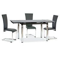 Стол обеденный стеклянный ТВ018  раскладной 110/170*75*75 см (черный)