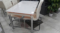 Стол обеденный стеклянный ТВ020 раскладной 120/200*80*75 см (кофе с молоком)