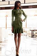 Женское замшевое платье хаки Харси Jadone  42-50 размеры