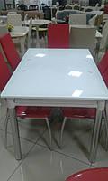 Стол обеденный стеклянный ТВ020 раскладной 120/200*80*75 см (ультра-белый)