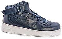 Мужские кроссовки Nike Air Force 1 high leather (navy/white) - 59Z