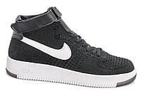 Мужские кроссовки Nike Air Force 1 high Flyknit (black/white) - 62Z