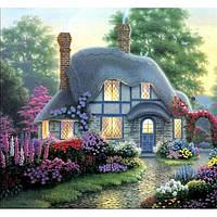 Картина по номерам на холсте Загородный дом Маленький домик в цветах 40*50см, КН300