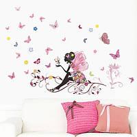 Наклейка виниловая Цветочная фея на ветке 3D декор