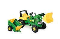 Трактор педальный с прицепом с ковшом Junior John Deere Rolly Toys зеленый